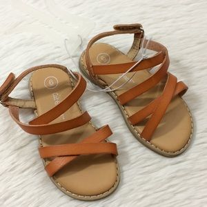 Cat & Jack Girls Sz 6 Tan Sandals Shoes